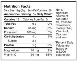 Image of Nutrition Facts label for Black Cherry Flavor