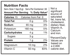 Image of Nutrition Facts Label for Original Flavor
