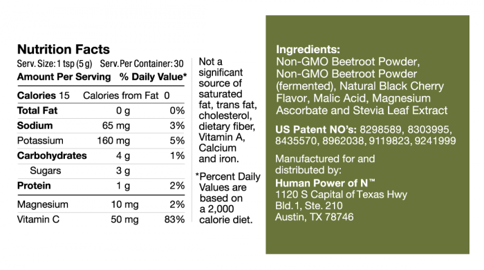 SuperBeets Black Cherry Nutrition Facts